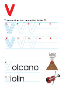 Capital Letter V Worksheet - free printable trace and write