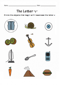 Circle the objects that begin with lowercase the letter v