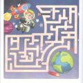 Colored space maze worksheet for preschool