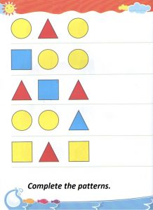 Complete the sequential pattern worksheet for kindergarten - shapes homework for preschool
