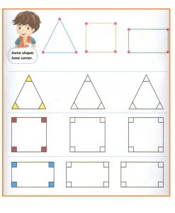 Corners of the shapes worksheet for preschool and kindergarten