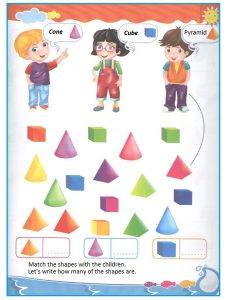 Geometric objects worksheet for kindergarten - cone cube pyramid worksheet for preschool