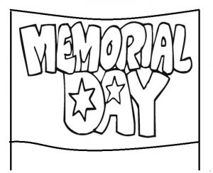 Happy Memorial Day banner coloring pages for preschool