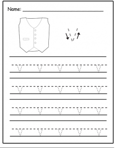 Lowercase letter v tracing sheet