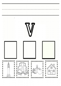 Lowercase letter v practice worksheet - printable trace the lowercase letter v