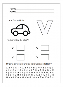 Lowercase letter v worksheet - practice lowercase letter v