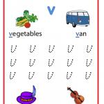 Lowercase letter v worksheets for Kindergarten
