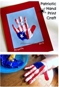 Memorial Day Craft Ideas for Preschool - Patriotic hand print craft