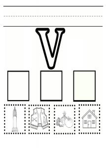 Practice Uppercase letter V worksheet for kindergarten