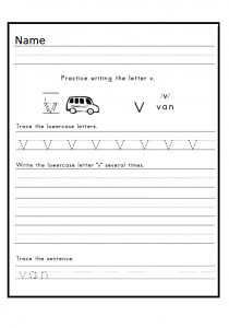 Practice writing the lowercase letter v worksheet