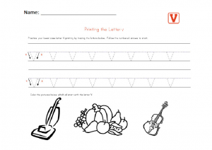 Printin the lower case letter v worksheet