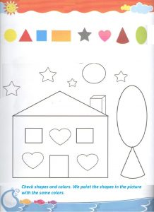 Shape coloring worksheet for kindergarten and preschool