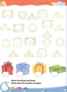 Shape match worksheet for kindergarten and pre-school