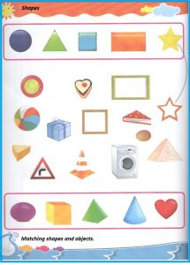 Shape match worksheet for kindergarten and preschool