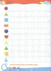 Shapes trace line worksheet for preschool - dot to dot shapes for kindergarten