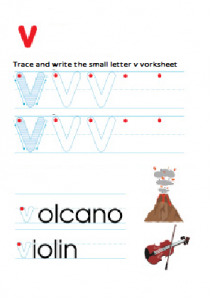 Small letter v worksheet - trace and write free printable