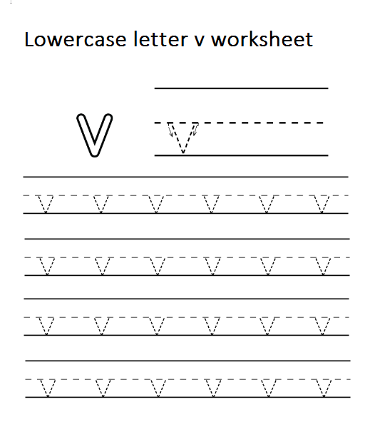 Tracing Lowercase Letter V Worksheet For Kindergarten