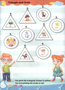 Triangle and circle teaching worksheet for preschool
