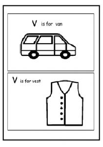 Uppercase letter V is for Van - V is for Vest worksheet