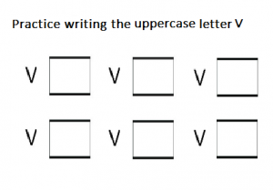 Uppercase letter V practice writing - free printable
