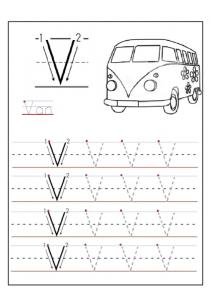 Uppercase letter V worksheets - V is for Van free printable