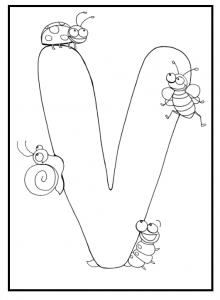 Uppercase letter v coloring sheet for preschool