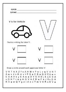 Uppercase letter v worksheet - Practice uppercase letter V