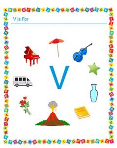 Uppercase letter v worksheet for preschool