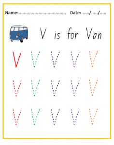 V is for Van Uppercase Letter Tracing Sheet
