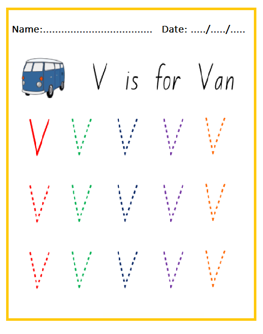 Uppercase Letter V Worksheets