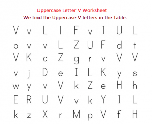 We Find Uppercase V Letters worksheet