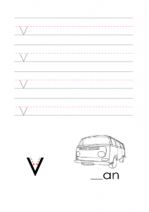 Write the lowercase letter v alphabet worksheet