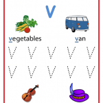 Writing Uppercase Letter V Worksheet