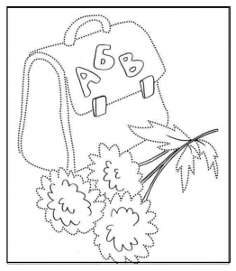 bag trace line worksheet for kids