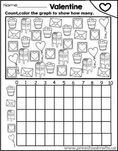 free graphing worksheets kindergarten for Valentine's Day