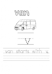 lowercase letter v is for van