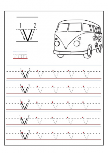 lowercase letter v worksheet - v is for van