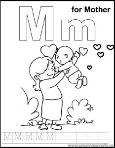 m is for mother coloring sheets for kids