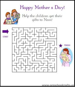 mothers day mazes printable worksheets