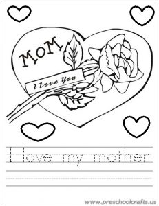 mothers day tracing worksheets for kids