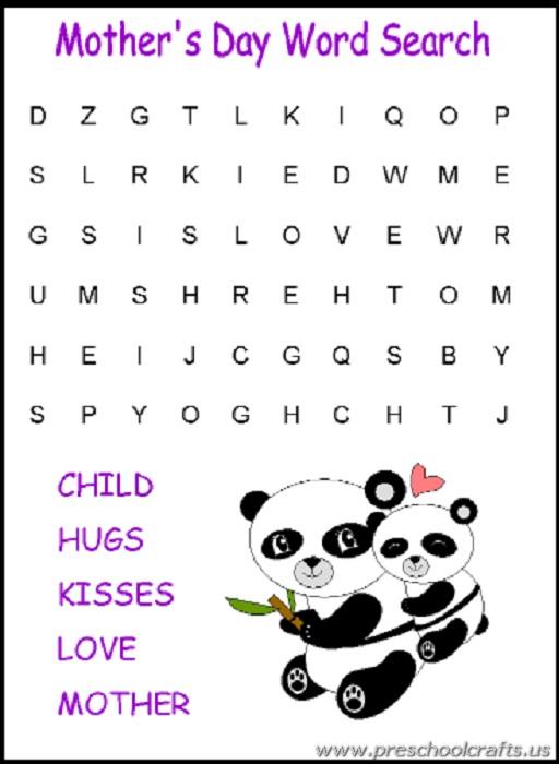 mothers day word search mazes kids worksheets preschool crafts. Black Bedroom Furniture Sets. Home Design Ideas