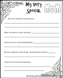 mother's day worksheets for kids