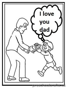 Happy Father's Day Coloring Pages for Preschool and Kindergarden