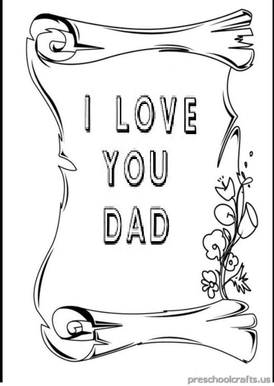 I Love You Dad Coloring Pages for Preschool - Preschool Crafts