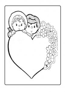 heart coloring page for mothers day - free printable