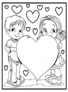 mothers day coloring page for kindergarten - heart coloring page