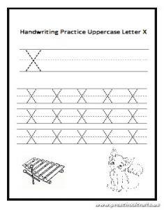 Handwriting Practice Uppercase Letter X worksheet for preschool and kindergarten