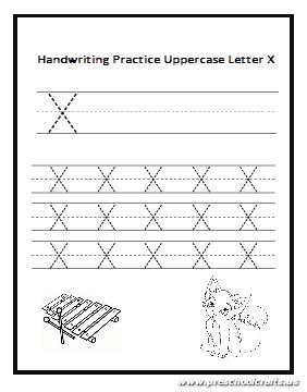 Handwriting Practice Uppercase Letter X worksheet for preschool ...