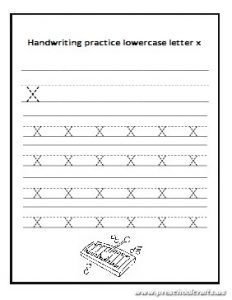 Handwriting practice lowercase letter x worksheet