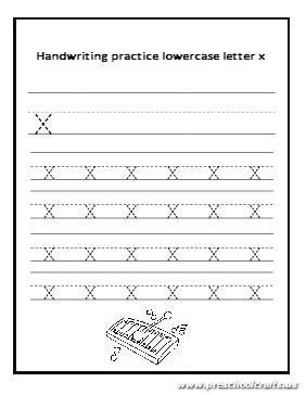 Handwriting practice lowercase letter x worksheet - Preschool Crafts